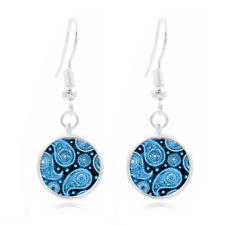 Blue Paisley Photo Tibet Silver Dome Photo 16MM Glass Cabochon Long Earrings#357