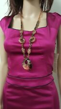 CUE 12 pencil fit occasion magenta color dress with black trim. NWT