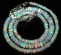 "43 TCW 2to5mm 16""+2""Extender chain Natural Ethiopian Fire Opal Beads Necklace"