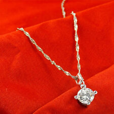 "925 Sterling Silver PL Round Cubic Zirconia CZ Crystal Pendant Necklace 17.7"" UK"