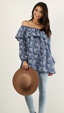 COWGIRL GYPSY COUNTRY PEASANT FLORAL BOHO OFF SHOULDER Top Tunic Western SMALL