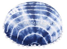 "Set Of 2 Pcs Indian Hand Dyed Shibori Cushion Cover 16"" Indigo Round Pillow Case"