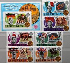 LIBERIA 1973 855-60 Block 64 U 616-622 IMPERF Olympics München Medal Winner MNH