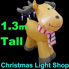 1.3m Inflatable Cute Reindeer w/ Icicles Christmas Outdoor Air Power LED Lights