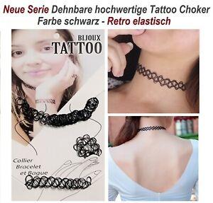 Halskette Tattoo Choker Armband Ring Henna Gothic Retro elastisch Gothic Choker