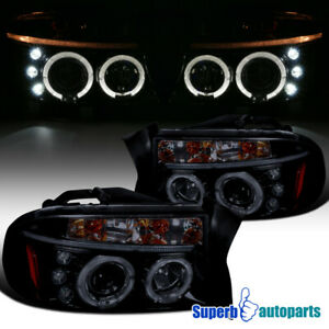 For 1997-2004 Dakota/Durango Smoke LED Halo Projector Headlights Glossy Black