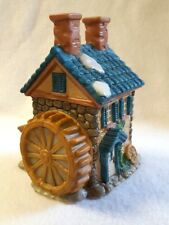 "Home Town America Christmas Village Grain Mill Porcelain Bisque 4.5""H x 3.5""W"