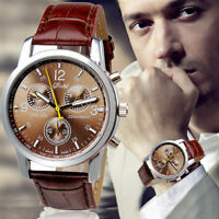 Luxury Men's Stainless Steel Leather Watch Business Analog Quartz Boy Wristwatch