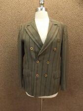 Vtg 50s Gray Wool Stripe Dbl Breast Bond Clothes Blazer Jacket Jr 16 School Girl