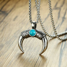 Retro Mens Necklace Tribal Horn Crescent Moon Pendant Wiccan Pagan Cracked Stone