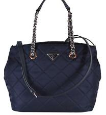 PRADA Dark Blue Quilted Tessuto Chain Strap Shoulder Bag Tote 1BG740