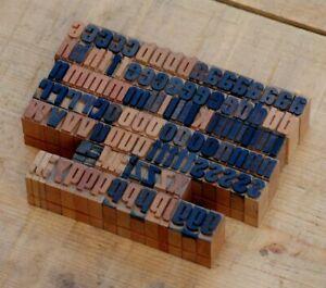 a-z Alphabet Holzbuchstaben 14mm Lettern Holzlettern Vintage shabby Stoffdruck.