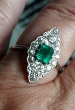 Emerald And Diamond Platinum Art Deco Style Ring SIZE O