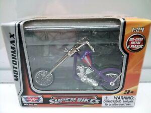 Super Bikes 1:24 Scale / Harley Davidson Style Chopper - Purple -Model Motorbike