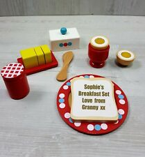 Personalised Toy Wooden Breakfast Toy Food Set Baby Toddler Gift Birthday