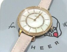 Fossil Women's Jocelyn Pink Blush Suede Watch Mother Of Pearl Crystals ES4455