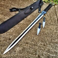 "27"" Ninja Sword Machete Full Tang W/Throwing Knives Tactical Blade Katana -44"