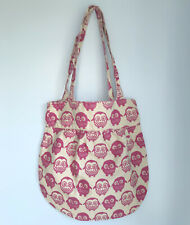 Owl Print Canvas Tote Bag Shoulder Bag Womens Beige Pink Cotton Bird Shopper