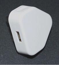 BIANCO 3 PIN 1000 mA adattatore di alimentazione USB Caricabatteria ALIMENTAZIONE REGNO UNITO SPINA MURO per lettori MP3