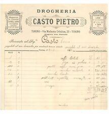 DROGHERIA CASTO PIETRO TORINO FATTURA 1917 CANDELE SAPONI PROFUMERIA ALIMENTARI