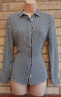 H&M BLACK WHITE STRIPED BUTTONED LONG SLEEVE SILKY FEEL BAGGY BLOUSE SHIRT TOP S