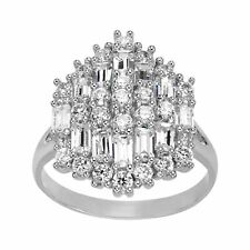 Cluster Ring with Cubic Zirconia in 10K White Gold