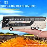 1:32 Collectible Alloy Double Bus Die Cast Sound Light Pull Back Car Toy Model