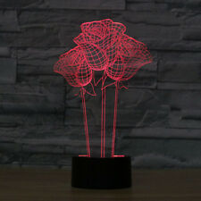 Desk Lamp 3D Led Color Roses Night light Modern Decor for Room Illusion Lamp