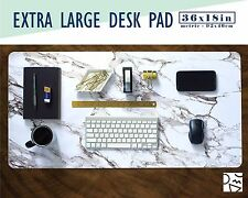 """White Marble Print Extra Large Desk Pad 36x18"""" Extended Mouse Pad"""