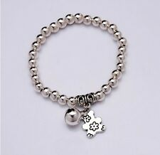Bear Bell Charms Bracelet Silver Plated Beads Bracelet Bangle Women Jewelry