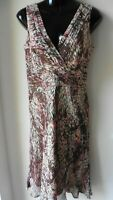 CC PETITE PINK & BROWN MIX SILK WRAP DRESS UK 10 BEADING TO FRONT IMMACULATE