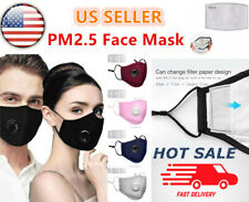 Washable Reusable Respirator Air Vent Cloth Face Mask+ 2 PM2.5 Carbon Filters 3C