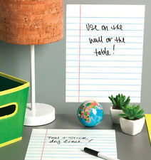 WALLIES RULED WHITE PAPER dry erase wall stickers 2 big decals pen included