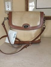 Dooney & Bourke Panama Linen Shoulder Bag Tan Leather Trim  Flap Bag NEW! TAGS