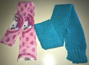 2 girls WINTER SCARVES pink fleece HELLO KITTY blue knit one size fits most SOFT