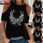 US Womens Cold Shoulder Tops Blouse Tee Ladies Summer Beach Short Sleeve T-Shirt