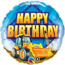 Construction Zone Happy Birthday Foil Balloon 46cm (18in) Yellow Digger