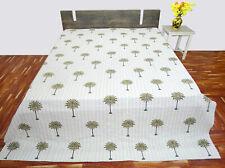 Palm Tree Kantha Quilt Single Size Bedsheet Handmade Cotton Green Bedspread