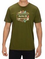 Hurley Mens T-Shirt Green Size 2XL Tropics Logo Crewneck Graphic Tee $25 215