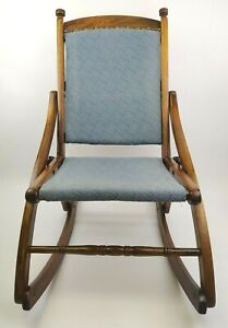 Antique Wooden Folding Rocking Chair 32'' Child/Small Adult Blue Upholstery