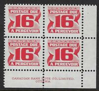 """Scott J37ii: 16c Red Due LR block of 4 with 2 """"nick above A"""" varieties, VF-NH"""