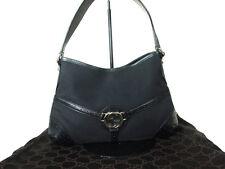 GUCCI GG Logo Canvas, Leather Black Shoulder Bag GS4849L