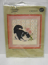 """*CANDAMAR SOMETHING SPECIAL """"Cat and Floral Wallpaper"""" CREWEL  KIT40238"""