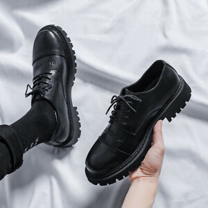 Mens Style Business Dress Shoes Casual Pu Leather Round Toe Lace Up Work Shoes