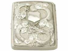 Exportaciones chinas Cigarrillo De Plata/Card Case-Antiguo Circa 1900
