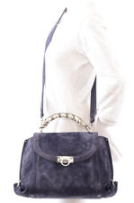 Salvatore Ferragamo blue suede leather snake print satchel handbag purse $1990