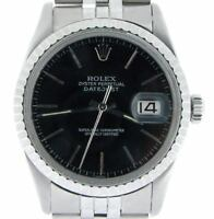 Rolex Datejust Mens SS Stainless Steel Jubilee Quickset Black Dial Watch 16030