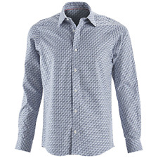 Men's Report Collection Long Sleeved Step Pattern Shirt Blue M #NJ1CR-M195