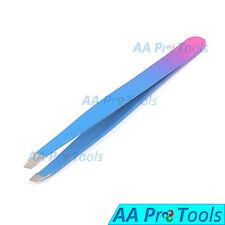 Pink & Blue-Color Professional Mini Eyebrow Tweezers Baby Tweezer Slanted Tip