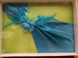 Blue/green toule flower guest book by Lillian Rose gb820, wedding guest book